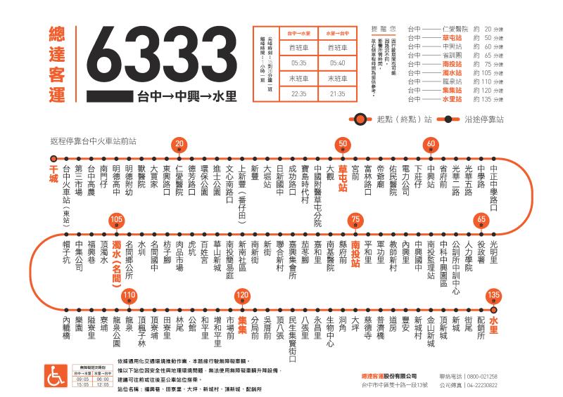 總達客運「6333台中-水里」路線